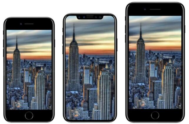 TRE MODELLER: Forbes spekulerer i at vi vil få se tre nye iPhone-modeller i høst: iPhone 7s, 7s Plus, og den nye iPhone X - her i midten. Designen stemmer helt overens med ikonet som nå er avslørt. Illustrasjon: iDropNews.com