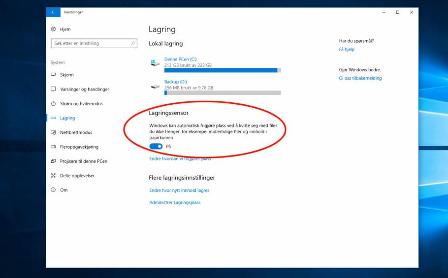 TRANGT: Med bare 9 GB ledig lagringsplass, kan det være greit å få slettet litt rusk og rask fra disken. Nå kan Windows 10 automatisk gjøre det for deg. Skjermdump: Dinside