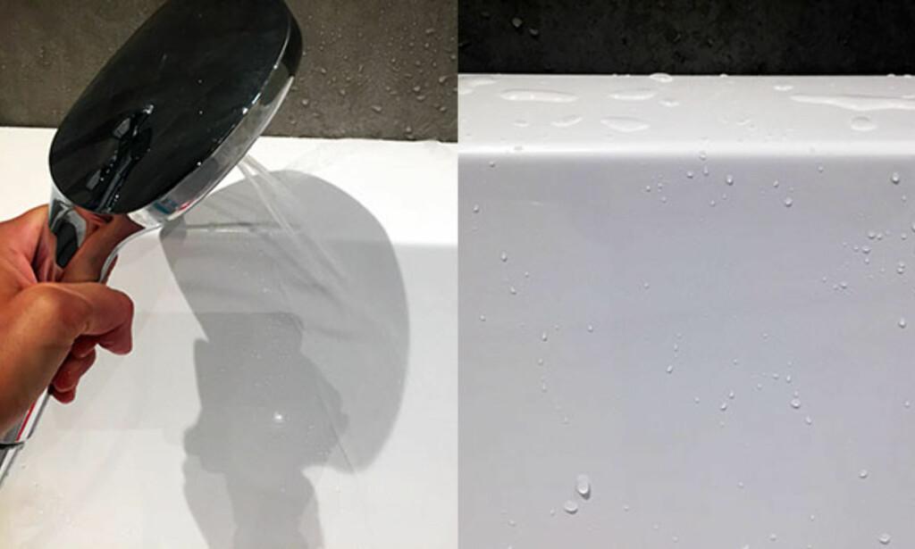 SIST: Skyll av neglelakkfjerneren godt med rent vann. Da skal flekken være borte. Foto: Linn M. Rognø.
