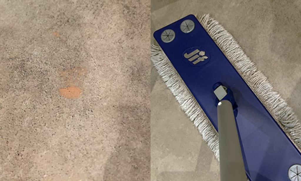 FLEKK PÅ FLISER: Denne flekken satt skikkelig godt fast i flisene, men neglelakkfjerner blandet med rent vann gjorde susen da vi tørket over flekken med moppen. Foto: Linn M. Rognø.
