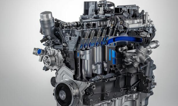 RASKERE VARM: Den nye motoren har integrert eksosmanifold i toppen. Foto: Jaguar