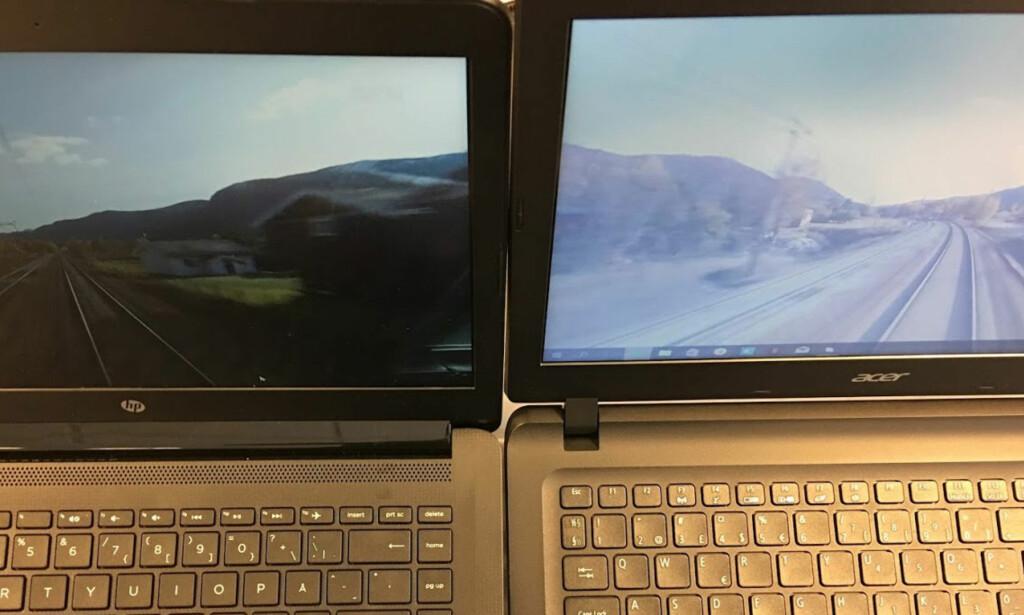 IPS MOT TN: Her betraktes skjermene noe ovenfra med samme vinkler, og her ser du tydelig hvordan bildet på HP til venstre i stor grad har beholdt kontraster og farger, mens bildet på Acer blir altfor lyst. Foto: Bjørn Eirik Loftås