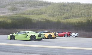 START: Lyden når disse fire bilene slippes løs, må bare oppleves. Foto: Kaj Alver