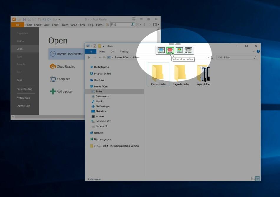 ALLTID ØVERST: Med WindowTop kan du blant annet låse et programvindu til å ligge øverst. Men gratisprogrammet har også andre, fiffige funksjoner. Skjermdump: Dinside
