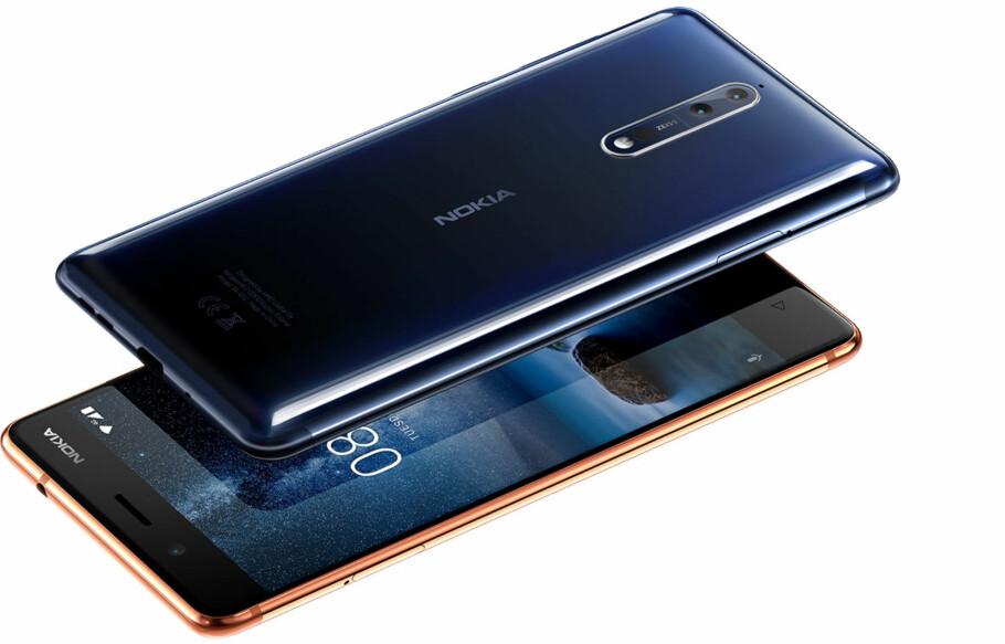 LEKRE FARGER: Nokia gjør et seriøst forsøk på ta opp igjen konkurransen med flaggskipet Nokia 8. Foto: HMD
