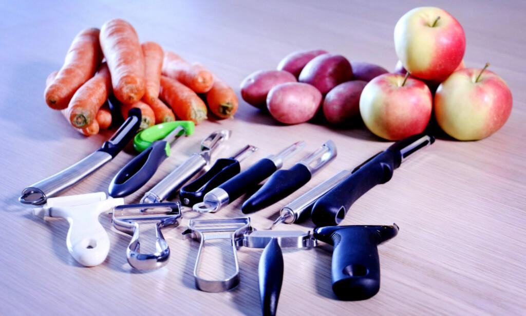 13 POTETSKRELLERE: Store forskjeller preget resultatet etter vår test av potetskrellere. Foto: Ole Petter Baugerød Stokke