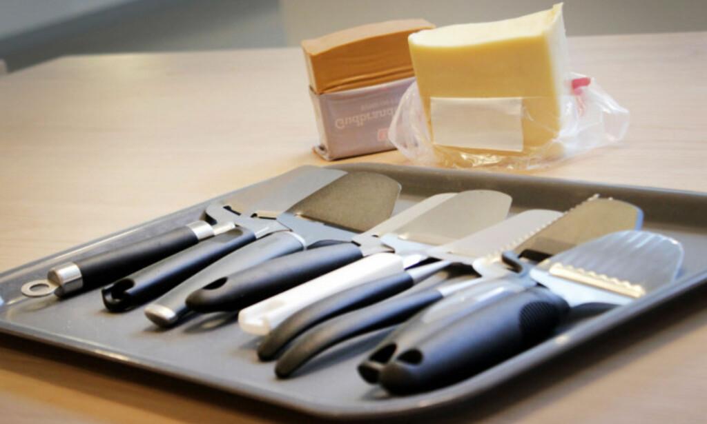 NI OSTEHØVLER: Vi testet ni ostehøvler i prissjiktet 39 - 189 kroner. Foto: Ole Petter Baugerød Stokke