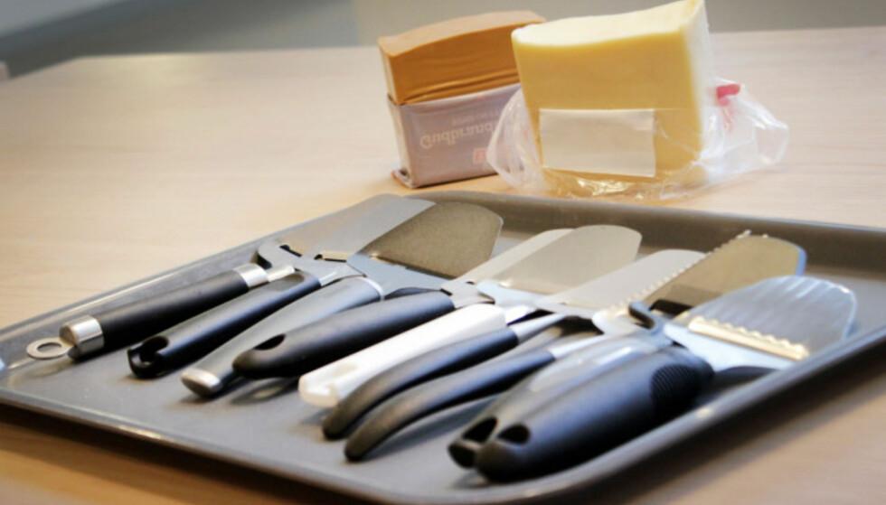 <strong>NI OSTEHØVLER:</strong> Vi testet ni ostehøvler i prissjiktet 39 - 189 kroner. Foto: Ole Petter Baugerød Stokke