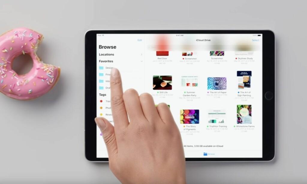 FILBEHANDLER: Snart kan du bla i filene dine på iPad, både lokalt og på diverse nettskytjenester. Det er på høy tid, vil mange hevde. Foto: Apple/YouTube