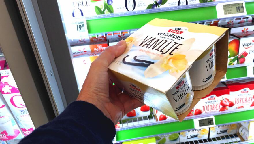 DYRT MED VANILJEYOGHURT PÅ SKOLEN: Det er 48 prosent billigere å kjøpe vaniljeyoghurten i butikken, sammenliknet med prisen du må ut med om du bestiller via skolens skolemelk-ordning. Foto: Kristin Sørdal