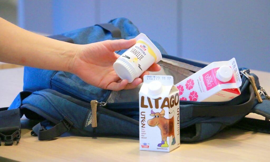 JEPP, DET GÅR FINT: Yoghurt greier seg fint en dag i sekken i romtemperatur - og melka kan også overleve. Sjokomelk er den best tåleevne for romtemperaturer - men da må du velge en som er ultrapasteurisert, ellers er det samme spilleregler som for vanlig melk. Foto: Kristin Sørdal