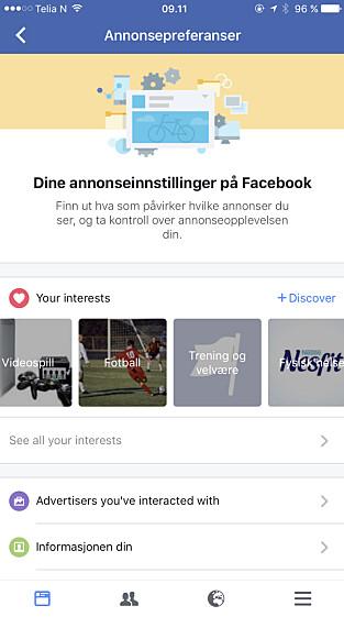 SJEKK DENNE: Facebook har her samlet det de mener er dine interesser. Det er med på å styre hvilke annonser du får se. Foto: Skjermdump.
