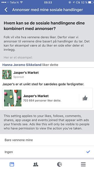 HUK AV: Hvis du huker av «Ingen», slipper vennene dine å se hvilke annonser du liker. Foto: Skjermdump.