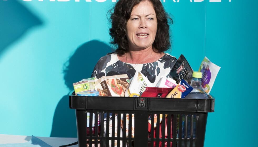"""LANSERTE TJENESTE: Barne- og likestillingsminister Solveig Horne var med på å lansere tjenesten """"Sjekk dagligvarer"""" torsdag i forrige uke. Feil har gjort at tjenesten ikke er blitt oppdatert med nye tall. Foto: NTB Scanpix"""