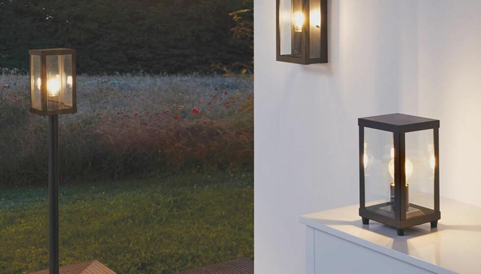 <strong>ALTERNATIV:</strong> Du kan også vurdere å sette opp flere lamper og lykter ute for et jevnt og mykt lys. Foto: Designbelysning.no.