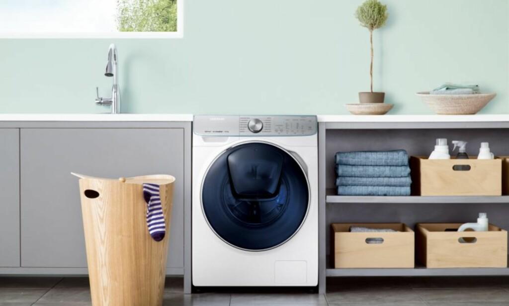 RASK: WW8800M er en vaskemaskin med ny trommel som halverer vasketiden uten at det går på bekostning av vaskekvaliteten, påstår Samsung. Foto: Samsung