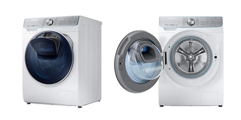 LEGG TIL: Vaskemaskinen er utstyrt med en luke der du kan putte ting du glemte før du satte i gang vasken. Foto: Samsung