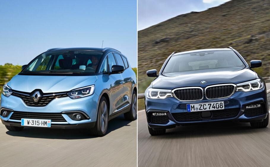 MILJØTEST AV BILER: Renault og BMW havner på hver sin side av «miljøtabellen» til tyske ADAC. Foto: Produsentene