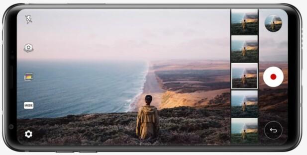 <strong>AVANSERT VIDEO:</strong> LG V30 kan filme i «råformat» og lar deg påføre en rekke stiler under eller etter filming. Foto: LG