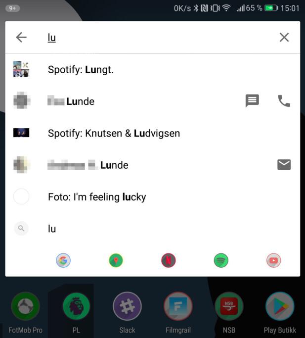 """SMART: Her har vi skrevet """"lu"""" i søkefeltet og kan velge blant Spotify-spillelister, kontakter og så videre. Skjermdump: Pål Joakim Pollen"""