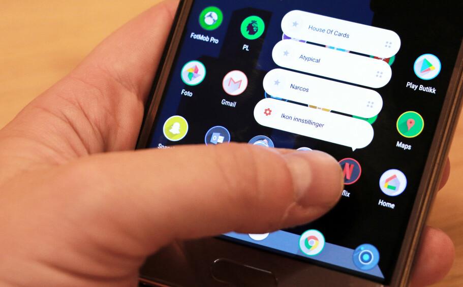 SMART: Sesame shortcuts gir deg smarte snarveier på hjemskjermen, men enda bedre er søkefeltet som lar deg søke i en rekke apper samtidig. Foto: Pål Joakim Pollen