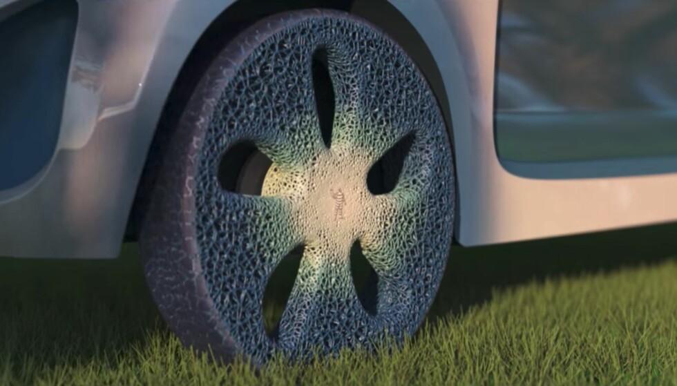 3D-PRINTET HJUL: Dette hjulet av gjenvinnbare materialer skal kunne vedlikeholdes av en 3D-printer. Skjermdump: Michelin