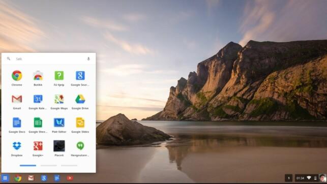SKRIVEBORDET: Brukergrensesnittet i ChromeOS er ikke helt ulikt det du møter i Windows. Skjermdump: Dinside