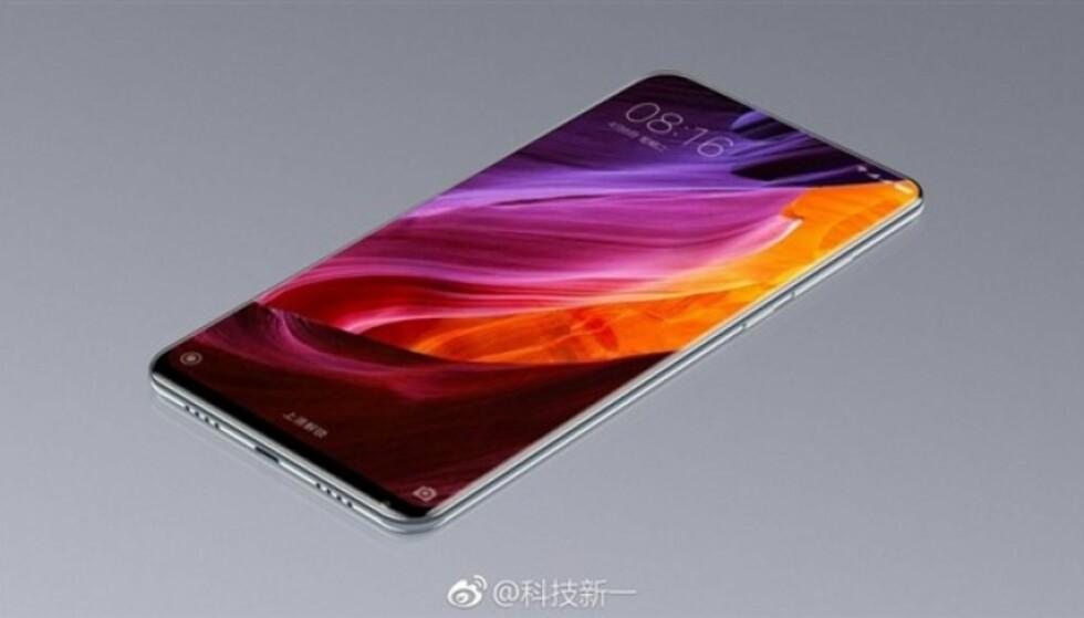 WOW: Xiaomi Mi Mix 2 ser ut til å få enda tynnere skjermkanter enn sin forgjenger. Bildet stammer fra det kinesiske mikrobloggnettstedet Weibo.