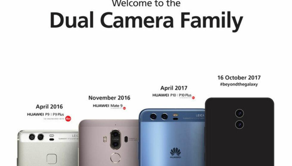 <strong>KOMMER SNART:</strong> 16. oktober kommer Huaweis nye toppmodell, Mate 10. Legg merke til emneknaggen de har valgt, som en stikk til Samsung. Foto: Huawei