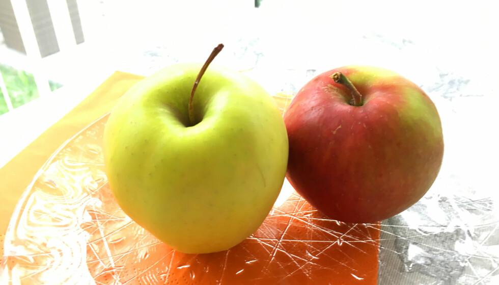 EPLESORTEN HAR MYE Å SI: Noen eplesorter blir lettere brune enn andre. Noen av de beste med tanke på å unngå bruning er Granny Smith og Braeburn. Aaby i Nofima kjenner ikke til at det er gjort undersøkelser på bruning av typiske norske eplesorter. Foto: Kristin Sørdal