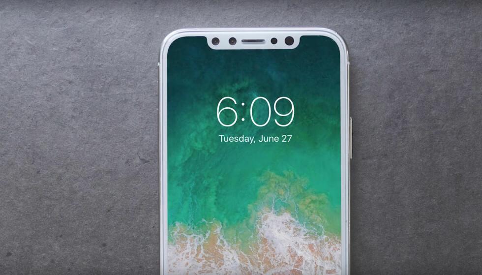 IPHONE X: Ryktebørsen koker, og i kveld forventer vi at Apple lanserer tre nye iPhone-modeller. Inkludert iPhone X, som skal se slik ut. Foto: Macrumours/YouTube