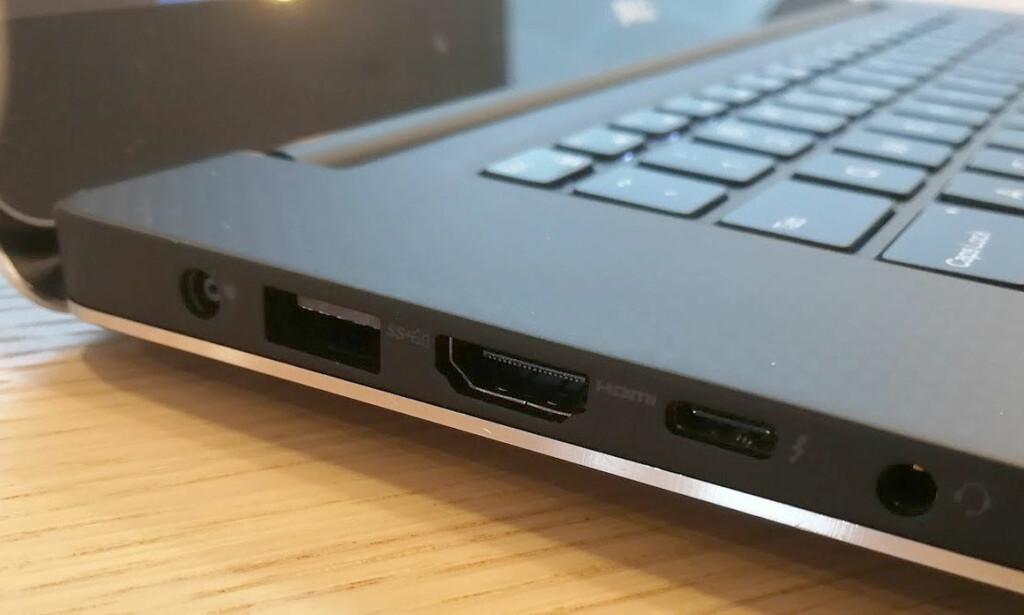 USB-C: PC-en er utstyrt med den nye USB-porten, som her støtter flere protokoller, inkludert USB 3.1 Gen2, som er den raskeste USB-standarden i 2017, med overføringshastigheter på inntil 10 Gbps. Foto: Bjørn Eirik Loftås