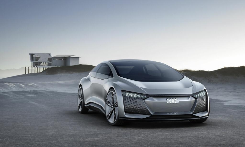 70-80 MIL: Audi sikter på 70-80 mils rekkevidde på Aicon, og på 30 minutter skal 80 prosent av batteriet være ladet. Foto: Audi