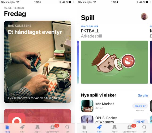 HELT NY: App store har fått ganske radikale endringer fra tidligere, der innholdet nå presenteres mer som en nyhetsstrøm med fokus på enkeltapper snarere enn en haug av små app-ikoner. Skjermbilde: Pål Joakim Pollen