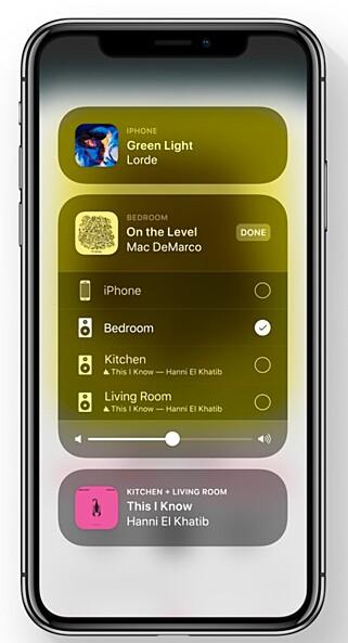 FULL KONTROLL: Med Airplay 2 kommer flerromsstøtte, slik at du kan styre hva som spilles i hvilke rom. Foto: Apple