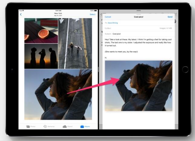 DRA OG SLIPP: Et bilde rett over i en e-post eller et tekstavsnitt direkte over i notater-appen blir nå lett som en plett i iOS 11. Foto: Apple
