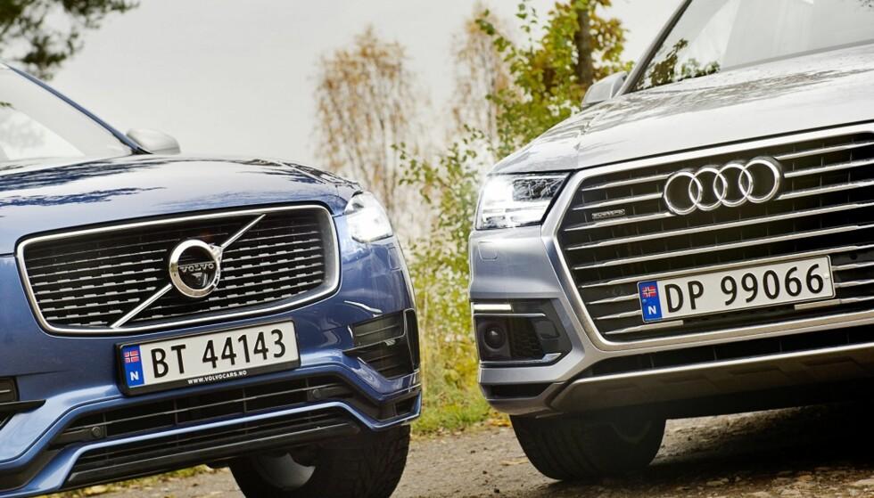 Både Volvo og Audi havner på nedre del av J. D. Powers kvalitetsundersøkelses-tabell, her representer ved SUV-ene XC90 og Q7. Foto: Jamieson Pothecary