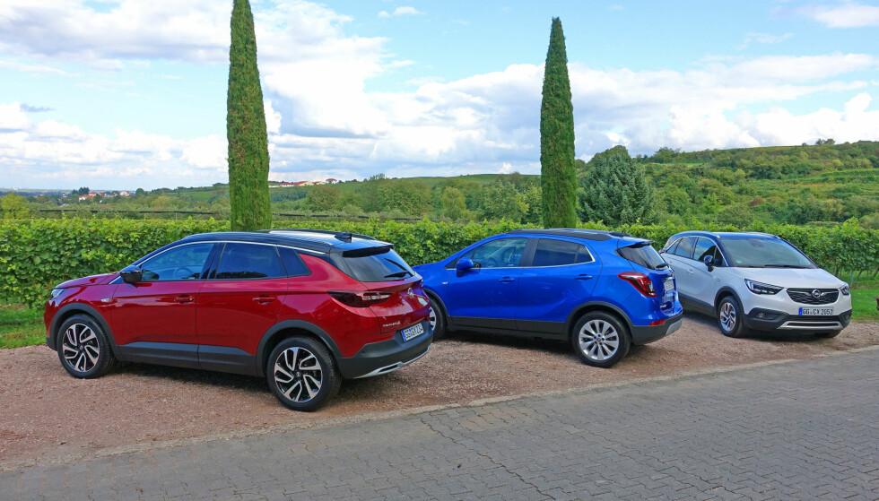SUV-TRIO: Så har Opel tre SUV-er på programmet. Fra venstre: Grandland X, Mokka X og minstemann Crossland X. Foto: Knut Moberg