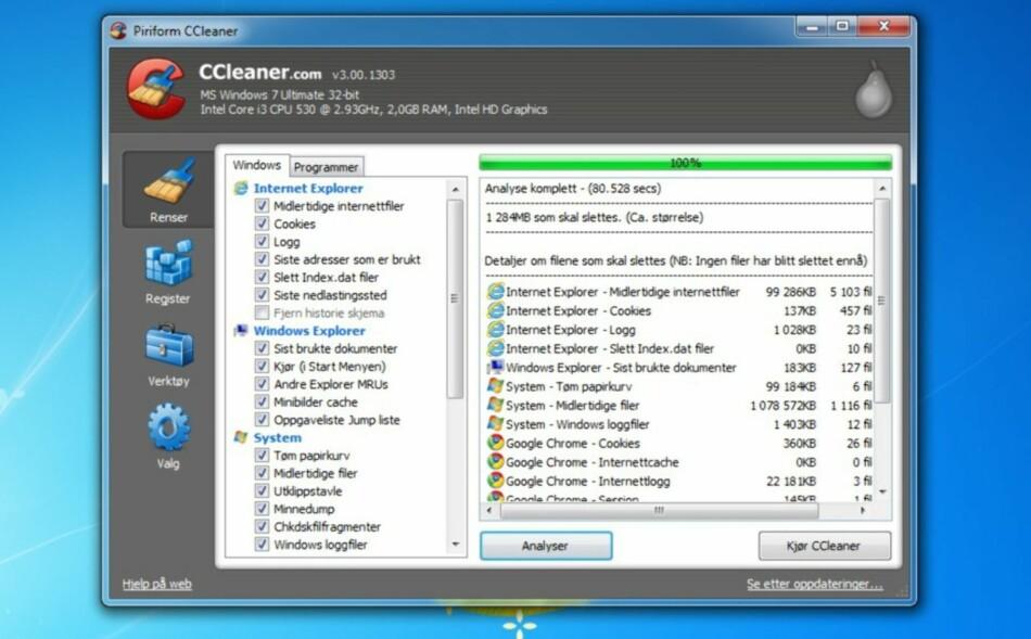 RENSKET IKKE OPP LIKEVEL: Istedenfor å renske PC-en din for ting som er unødvendig, la den infiserte versjonen til noe som var meget unødvendig. Skjermdump: Dinside