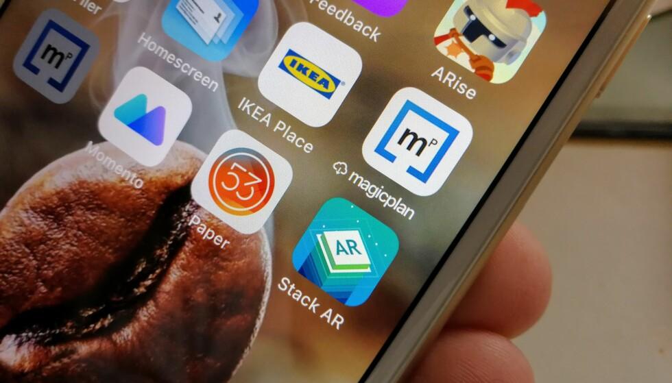 SLETTET, MEN IKKE BORTE: Sky-ikonet foran Magicplan-appen viser at appen har blitt «slettet». Den blir lastet ned igjen om vi trykker på ikonet, og dataene er uansett bevart. Foto: Pål Joakim Pollen