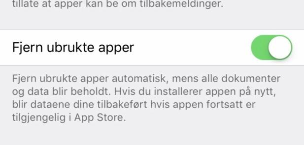 HER: Slår du på denne bryteren, vil enheten automatisk slette lite brukte apper når det trengs. Skjermbilde: Pål Joakim Pollen