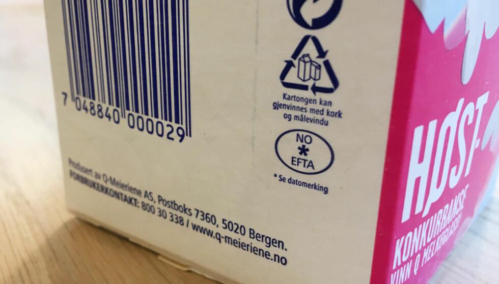 MELK: Det ovale merket inneholder ingen kode, men en asterisk. Foto: Berit B. Njarga