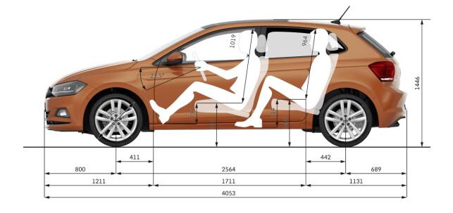 GODT PAKKET: Større dimensjoner og god plassutnyttelse gjør Polo til en romslig kompaktbil. Skjema: VW