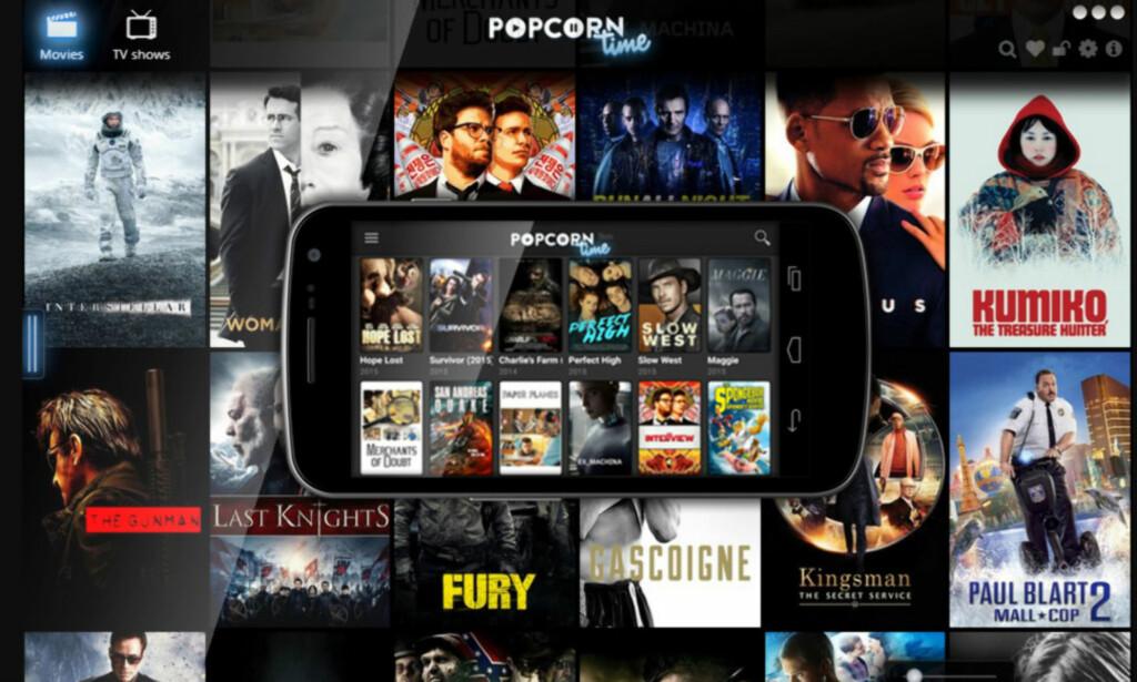 POPULÆRT: Popcorn Time var en periode svært utbredt i norske TV-stuer men myndighetene har nå slått fast at tjenesten er ulovlig pga. brudd på opphavsretten. Faksimile: Popcorn Time