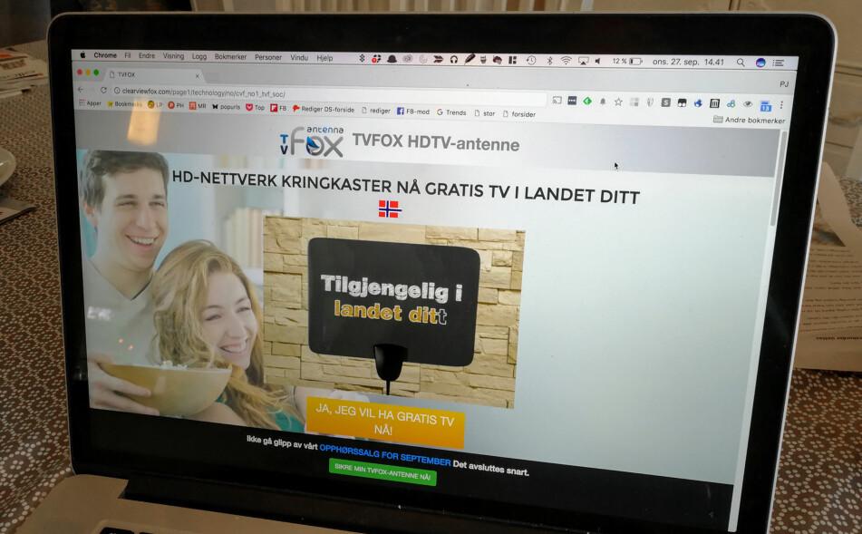ANNONSERER TIL NORDMENN: Mange nordmenn har fått annonser for TV-produkter den siste tiden, som lover en haug av kanaler uten månedlige avgifter. Foto: Pål Joakim Pollen