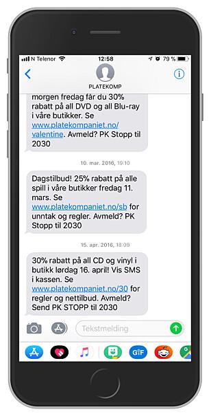 INFORMERTE FØR: Slik så Platekompaniet-meldingene ut i fjor. Dette er i tråd med Forbrukerombudets krav om informasjon i hver melding om hvordan man unngår dem, men nå har SMS-ene slutta å informere om dette. Foto: Ole Petter Baugerød Stokke