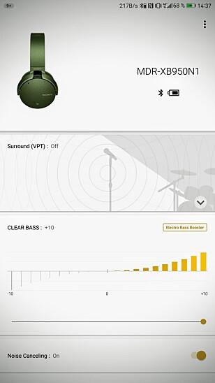 VELG SELV: Sonys app er ganske enkel i bruk og lar deg justere hvor mye bass du vil ha når funksjonen er aktivert, samt enkle equalizer-innstillinger for å simulere konsertlyd og den slags. Skjermbilde: Pål Joakim Pollen