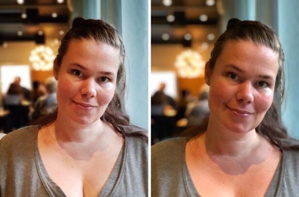Portrettmodusen på iPhone 8 Plus (til høyre) sammenlignet med tilsvarende i Note 8. At utsnittet er noe forskjellig skyldes ulike brennvidder i tele-objektivet. Foto: Pål Joakim Pollen