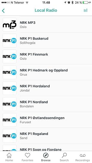 Appen TuneIn Radio er vår favoritt. Her kan du velge og vrake mellom tusenvis av kanaler, deriblant hundrevis av norske.