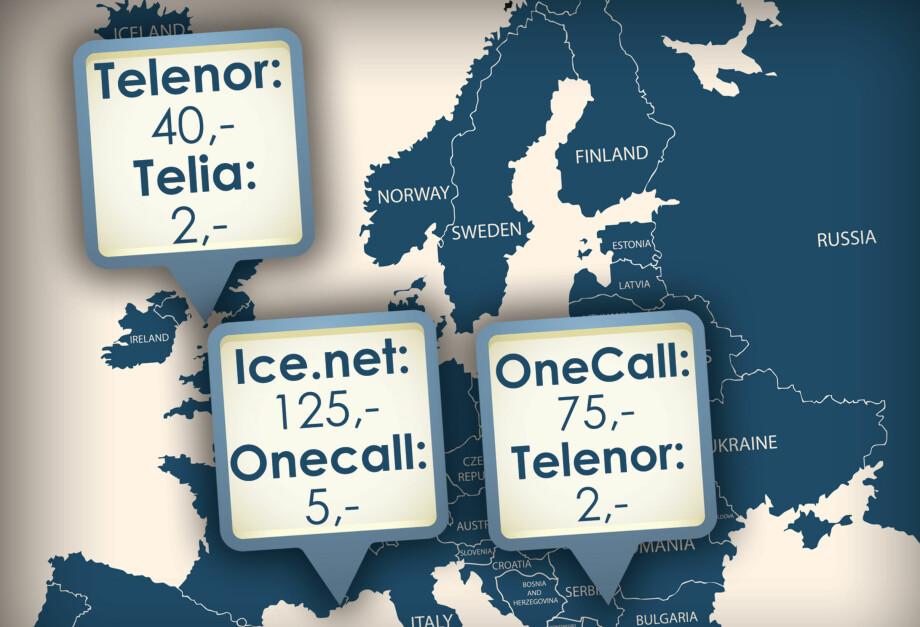 STORE FORSKJELLER: Midt i Europa tar norske operatører vidt forskjellige priser for roaming. Disse landene er ikke med i operatørenes frie roaming, og prisene de tar kan være svært høye. Grafikk: Ole Petter Baugerød Stokke / Shutterstock / NTB Scanpix